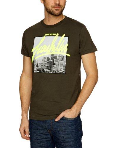 Franklin & Marshall - Camiseta de Manga Corta con Cuello Redondo para Hombre, Color Negro Pirata (Pirate Black), Talla s