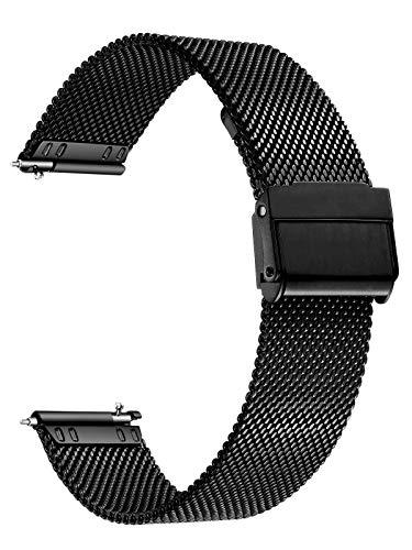 XIRUVE Uhrenarmband Edelstahl Mesh Schnellverschluss Ersatzband für Damen Herren 12-24mm (22mm, Schwarz)