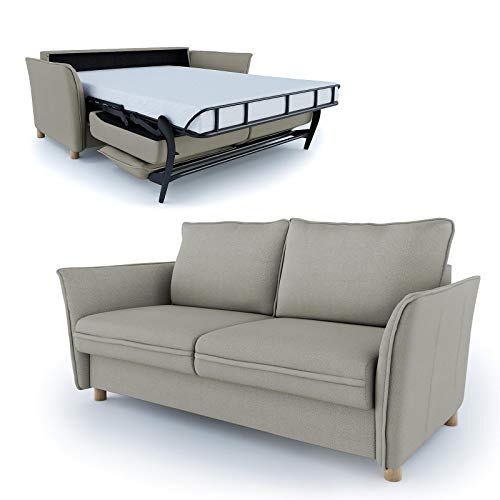 place to be. Sofá cama de 140 cm de ancho con cajón, sofá de 2 plazas, cama plegable, cama para invitados, arena de haya maciza