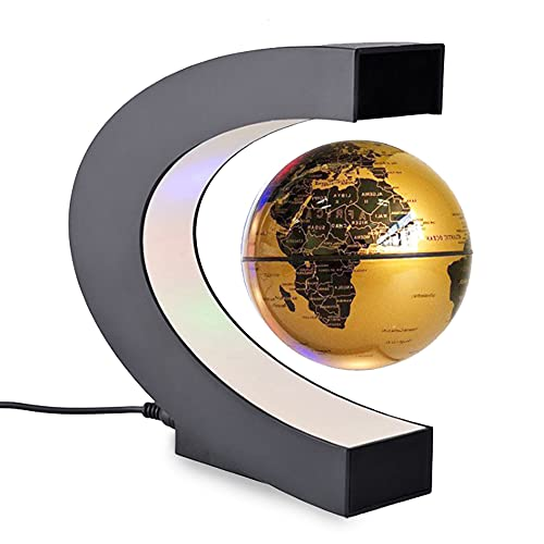OHHG Globo terráqueo Lámpara Globo Flotante con Luces LED de Colores Forma de C Levitación magnética antigravedad Mapa Mundial Giratorio para niños Regalo Escritorio de Oficina en casa