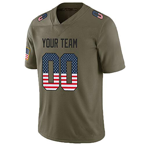 Pullonsy Camo Salute to Service Custom Football Jerseys for Men Embroidered Team Name and Your Numbers,Mesh USA Flag-Black,Size M