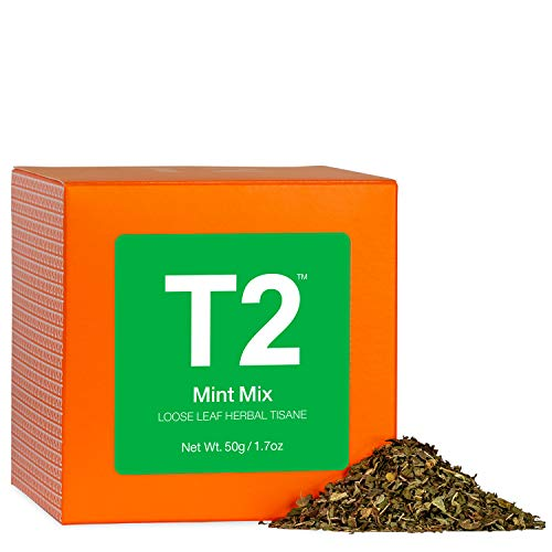 T2 Tea - Mint Mix, Mint Tea, Loose Leaf Herbal Tea in Gift Cube, 50g, 1.7oz , T140AE019