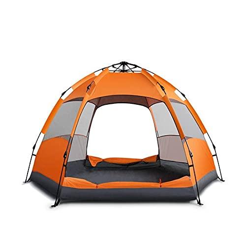 Linahealth Casa de Campaña 5-7 Personas para Acampar Impermeable Tienda de Campaña Térmica con Mosquiteros y Toldo Adicional para Lluvia Ligera (Naranja)