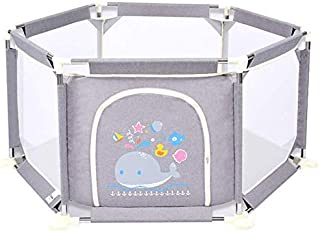 LOVE BABY Lovebaby Playpen Portable Baby Play Yard Infant Game Fence Indoor 6-Panel Playground Safety Protective Fence  Height Optional  Color Gray  Size 73cm tall