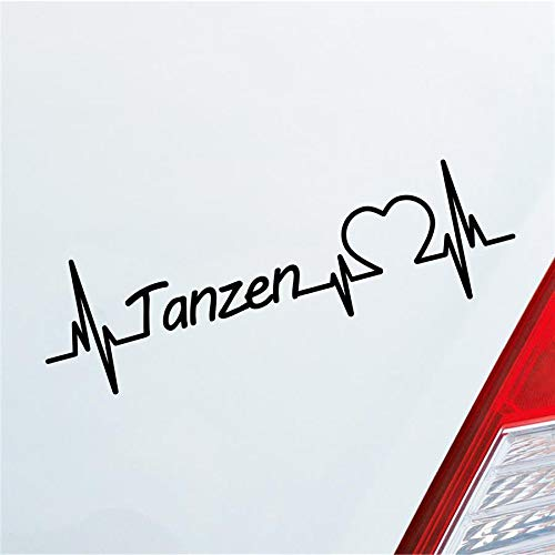 Hellweg Druckerei Auto Aufkleber Tanzen Herzschlag Tanzsport Partner Musik Sport Sticker Liebe Schwarz Glanz