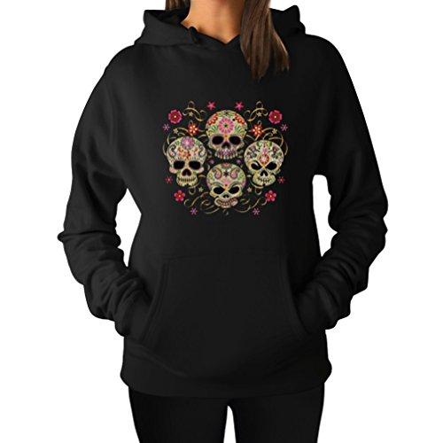 Rose Eye Sugar Skulls - Day of The Dead Gothic Women's Hoodie Medium Black