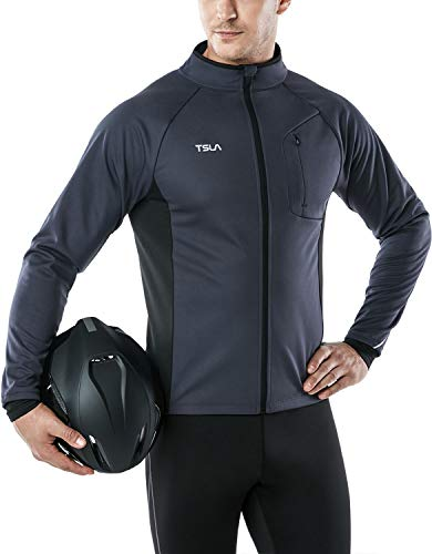 TSLA Men's Cycling Winter Thermal Windproof Breathable Running Softshell Jacket, Cycling Windproof Jacket(ycj70) - Dark Grey, X-Large