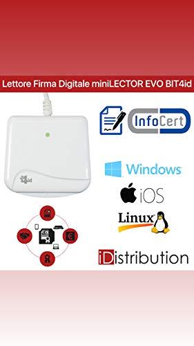 Bit4id ORIGINALE Minilector evo 2.0 RFID, Lettore di Smart Card Readers, Firma digitale SPID e CRS CNS, Tessera sanitaria Carta,CAC Dod,Plug&Play,no driver,supporta carte Common Criteria e FIPS