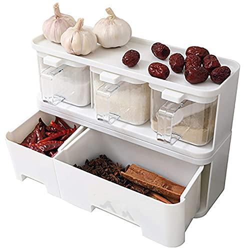 HGJINFANF Fuerte y Firme, imprescindible para el hogar Caja de condimento Condujano Tarro con Sal de salero Combinación Caja de Almacenamiento Apilable Spice Rack Accesorios de Cocina
