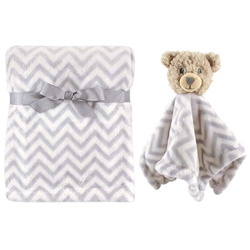 Hudson Baby Unisex Baby Plush Blanket with Security Blanket, Bear, One Size