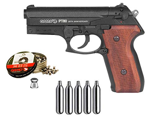 Gamo. Pistola Perdigón PT-80 Cachas de Madera. 4,5mm. + maletin + balines + bombonas co2. 3405/38203/29318