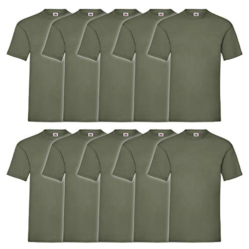 10er Pack Valueweight Fruit of the Loom T-Shirt Größe S - 5XL T-Shirts in vielen Farben L,oliv