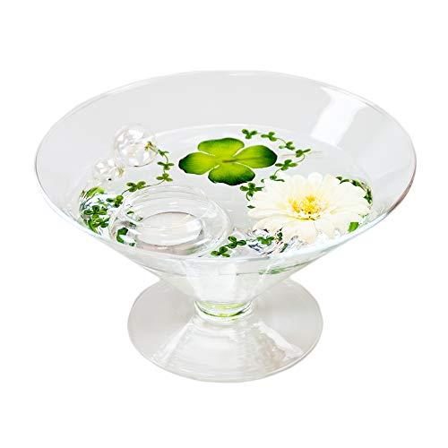 Cône en verre ronde-plateau-grand modèle-hauteur : 12 cm diamètre : 22 cm pointes-plat en verre sur pied avec décoration fleur gerbera blanc casablance design coupelle de glaskönig