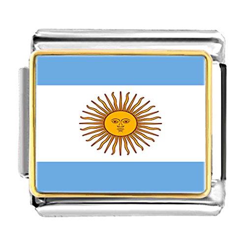 GiftJewelryShop Gold Plated Argentina flag Bracelet Link Photo Italian Charm