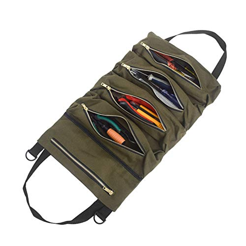 Kani Super Roll Tool Roll, Canvas Tool Roll Up Bag, Multi-Purpose Hanging Tool Zipper Carrier Tote, Car Seat Back Organizer, Tool Organizer Bucket, Wrench Organizer with 5 Zipper Tool Bags