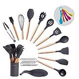 Silicone Kitchen Utensil Set, Complete Set, 11 Cooking Utensils Measuring Spoon Set Placing