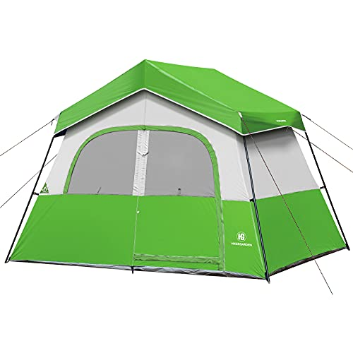 HIKERGARDEN Camping Tents - 6 Person Tent for Camping Waterproof, Windproof Fabric, Cabin Tent, Easy Setup with Reinforced Steel Poles, Advanced Venting Design, Portable with Carry Bag for Hiking