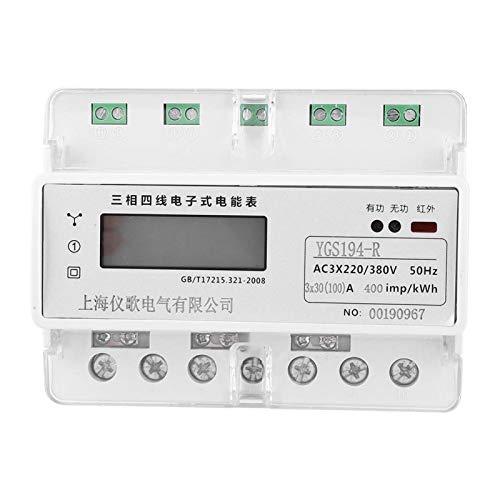 Medidor de energía digital de vatímetro de carril, medidor de potencia trifásico...