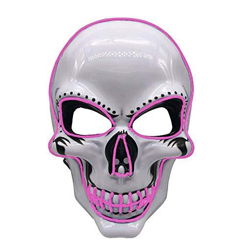 Reuvv Halloween-Kostüm mit LED-Totenkopf-Licht Maske, Gruselige Maske, für Halloween, Festivals, Party, Karneval, Festivals Pink Lighting