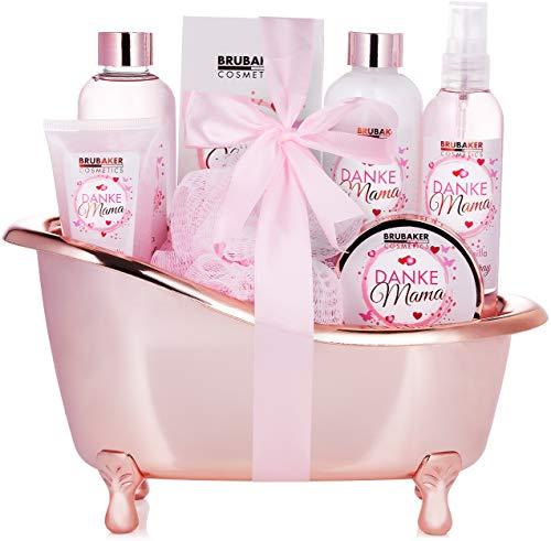 BRUBAKER Cosmetics - Gracias Mamá Set Baño y Ducha del Día de la Madres - Rosa Vainilla - Caja de Regalo en Bañera Decorativa - 8 Piezas
