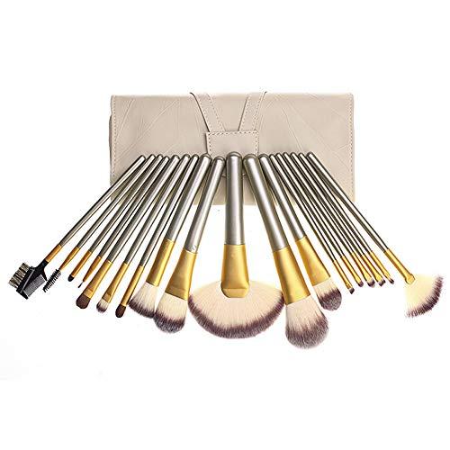 AHEFA18Pcs Beige Broyé Moka Brush Pinceaux De Maquillage Ensemble Foundation Brush Fard À Paupières Contour Poudre Mélange Pinceau