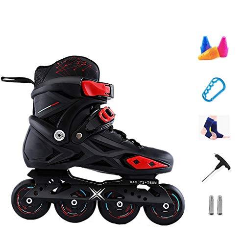 Taoke Speed Roller Skates, Fancy männliche und weibliche Anfänger Roller Skates Flashing Rad atmungsaktiv (Farbe: Schwarz, Größe: 40 EU / 7.5 US / 6.5 UK / 25cm JP) dongdong