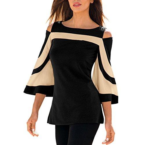 iHENGH Damen Frühling Sommer Top Bluse Bequem Lässig Mode Frauen kalte Schulter Langarm Sweatshirt Pullover Tops Bluse Shirt(Schwarz, L)