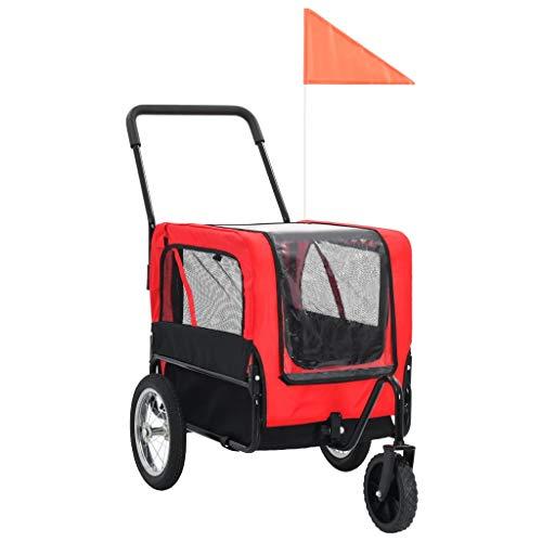 vidaXL Hundefahrradanhänger Fahrradanhänger Hundeanhänger Hundetransporter Haustieranhänger Hunde Fahrrad Anhänger Jogger 2 in 1 Rot Schwarz