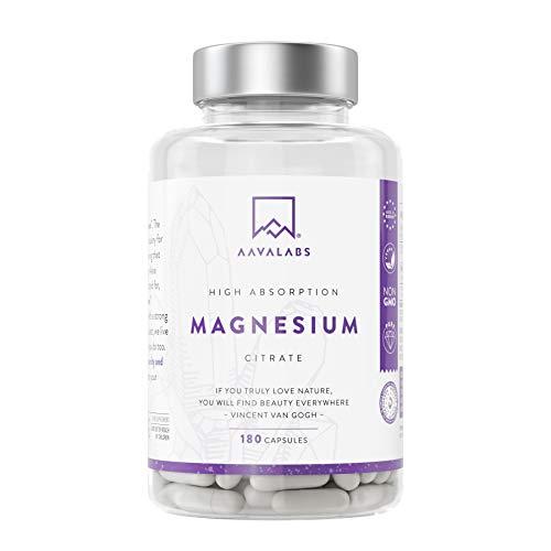 Magnesiumcitrat - [ 400mg ] elementares Magnesium pro Tagesdosis - 180 Kapseln - nordische Reinheit ohne unerwünschte Zusätze - Hohe bioverfügbarkeit - Vegan - Laborgeprüft.