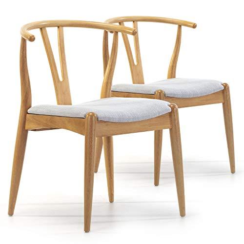 VS Venta-stock Pack 2 sillas Rustic Color Roble, Madera Maciza, 55 cm (Largo) 54,5 cm (Profundo) 76 cm (Alto)