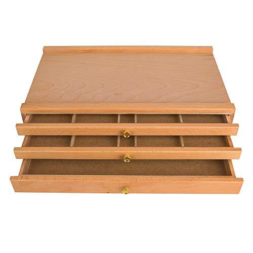 Caja de caballete, 3 cajones Caja de almacenamiento de madera ajustable Caballete de artista Dibujo Pintura Caja de escritorio Caja de madera de almacenamiento de artista multifuncional para pasteles