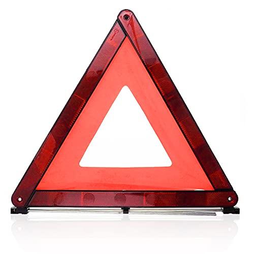 Warndreieck rot   Pannendreieck Stvo 2021 inkl. Aufbewahrungsbox für Auto KFZ Motorrad   Notfalldreieck für Panne & Unfall - Starke Reflektoren, hohe Sichtbarkeit, extrem leicht, stabiler Stand