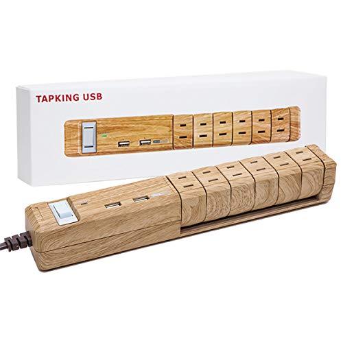 ひとつひとつの木目調パターンが違う おしゃれなデザイン電源タップ 3.4A USB 急速充電 AC6個口 延長ケーブル コード 1.8m