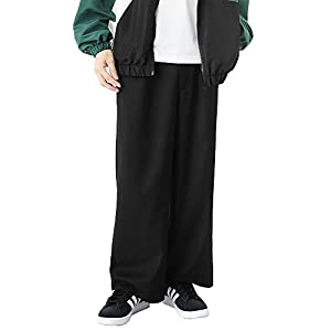 ブラックロング丈 M (ベストマート)BestMart エステル ワイド パンツ メンズ ボトムス スラックス イージーパンツ 621389-005-001