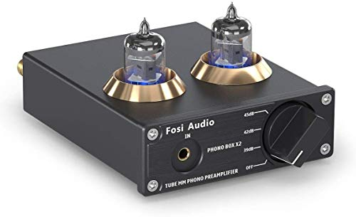 Fosi Audio Phono Preamp MM Phonograph Turntable Preamplifier with Gain Gear RCA Input Mini Stereo Audio Hi-Fi Pre-Amplifier for Record Player with DC 12V Power Supply