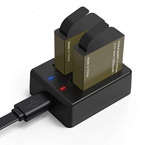 COOAU - Batteria 2 x 1050 mAh Action CAM, caricabatterie doppio esterno con cavo di ricarica USB, compatibile con Action CAM