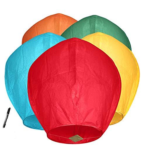 Maylai 5 Paquete Farolillos chinas hechas a mano Farolillos de papel voladoras Farolillos deseadas para cumpleaños Fiesta de bodas Colores variados 100% Biodegradable Respetuoso con el medio a