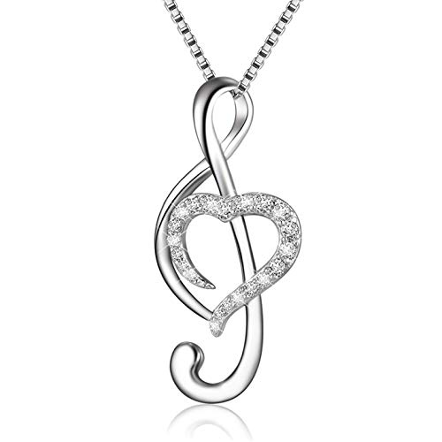 925 Sterling Silver Music Note Love Heart Necklace Pendant Jewelry Gifts for Women Daughter Girlfriend Sister