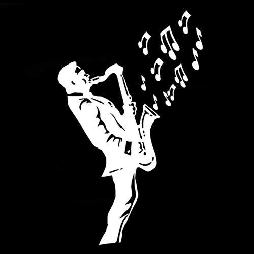 Empty 3 Stück Auto Aufkleber 11CM * 17.8CM Saxophon Musik Jazz Wasserdicht Reflektierende Auto Aufkleber für Fenster Laptop Motorrad Fahrrad Gepäck Graffiti Patches Aufkleber