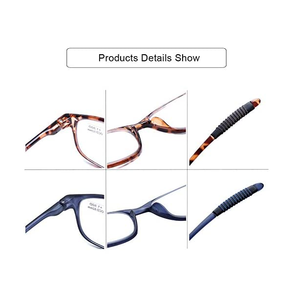 DOOViC Reading Glasses 4 Pack Blue Light Blocking Anti Eyestrain Flexible Lightweight Computer Readers for Men Women