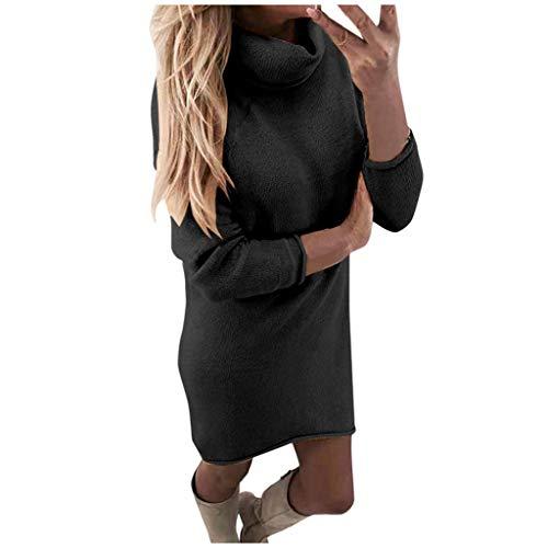 DNOQN Damen Kleider Pullikleid Rollkragenkleid Damen Mode Langärmelig Schlank Unterhemd Rollkragen Sweatshirt Loses KleidFesttagskleider Pulloverkleid Sweatkleid Winterkleider