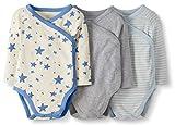 Moon and Back de Hanna Andersson - Pack de 3 bodis de manga larga con cierre lateral hechos de algodón orgánico para bebé, Azul, 0 messes (45 CM)