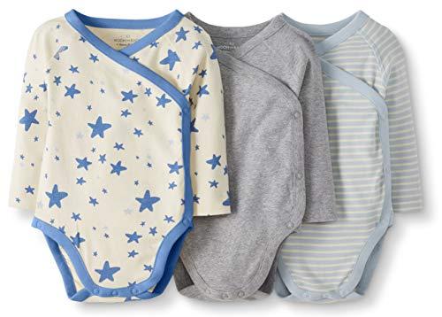 Moon and Back by Hanna Andersson Lot de 3 Bodies à manches longues en coton bio, avec boutons-pression latéraux, pour bébés, bleu, 6-12 mois (67-72 CM)
