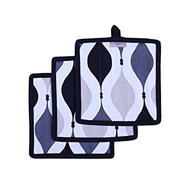 Pot Holders, Unique Black & Gray Geometric Design, Pot Holders Heat Resistant, Made of 100% Cotton, Eco-Friendly & Safe, Set of 3, Pot Holder size 8 x 8 inches, Pot Holders for Kitchen By CASA DECORS