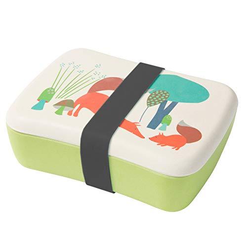 BIOZOYG Kinder Bento Lunchbox aus Bambus I Brotdose mit extra Snack Box I Mädchen und Junge Motiv Brotbox – Fuchs für Kindergarten I Lunch Set to Go BPA frei und 100{55e339de54409a0854d6f7966269900d60a1a303d0780c12de6121c4427ddbd5} lebensmittelecht
