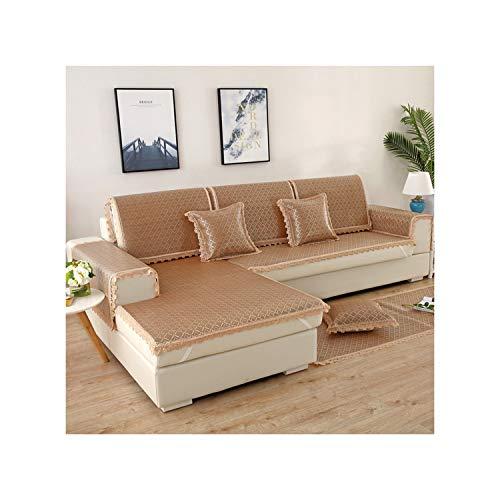 HGblossom Ice Rattan Sofabezug Cushion Lace Schonbezug rutschfest L-förmiger Sofaschutzbezug B 60X210Cm 1St