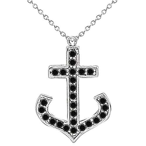 """0.50 Carat Black Diamond Fancy Anchor Pendant Necklace With 18"""" Chain 14K White Gold"""