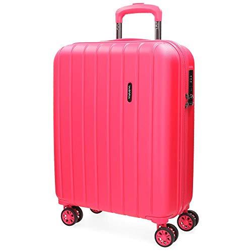 Movom Wood Maleta de cabina Rosa 40x55x20 cms Rígida ABS Cierre TSA 38L 3,2Kgs 4 Ruedas dobles Extensible Equipaje de Mano