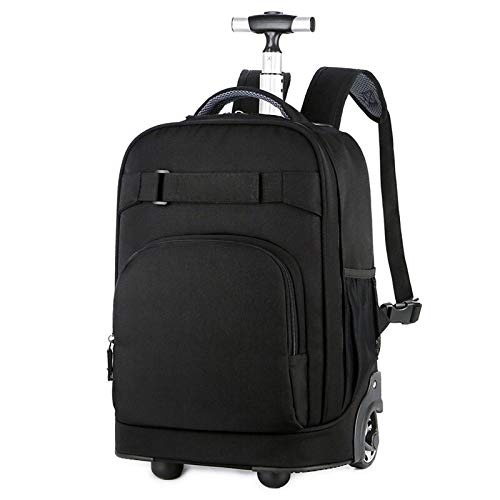 FREETT Men Trolley Suitcase, University Trolley Backpack with Wheeled and Laptop Compartment, Multifunctional Trolley Bag for Student School Boarding, 31 * 21 * 46 cm,Black