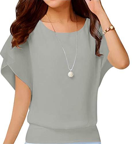 Neineiwu Women's Loose Chiffon Top Round Neck Bat Short Sleeve Casual T-Shirt (Grey S)